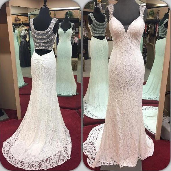 Plunging V Sleeveless Lace Mermaid Wedding Dress Featuring Sheer Crystal Back and Sweep Train