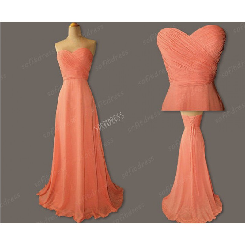 Coral Colored Long Bridesmaid Dress Chiffon Cheap Simple